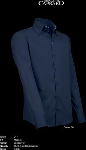 Giovanni Capraro 917-36 Heren Overhemd - Navy [Blauw accent]