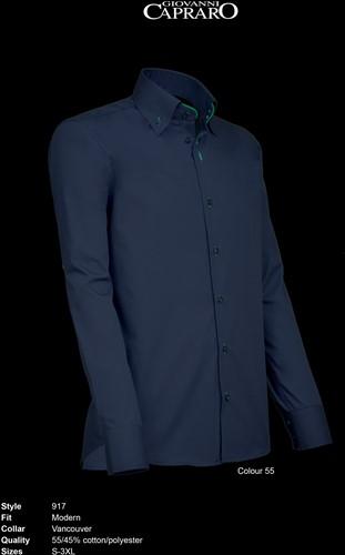 Giovanni Capraro 917-55 Heren Overhemd - Navy [Groen accent]