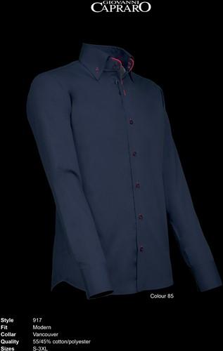Giovanni Capraro 917-85 Heren Overhemd - Navy [Rood accent]