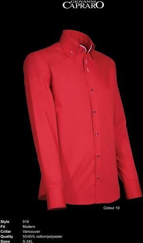 Giovanni Capraro 918-10 Heren Overhemd - Rood [Wit accent]