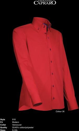 Giovanni Capraro 918-36 Overhemd - Rood [Blauw accent]
