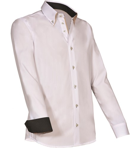Giovanni Capraro 922-10 Heren Overhemd - Wit [Beige accent]