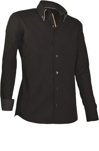 Giovanni Capraro 922-20 Heren Overhemd - Zwart [Beige accent]