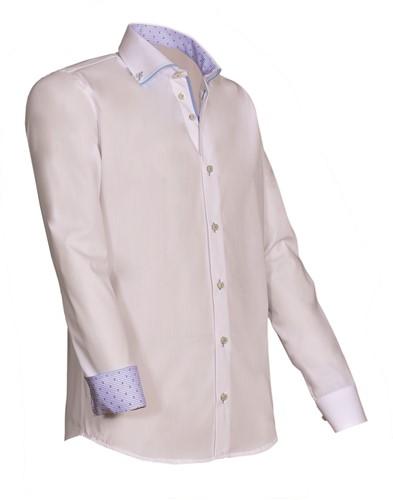 Giovanni Capraro 923-31 Heren Overhemd - Wit [Licht Blauw accent]