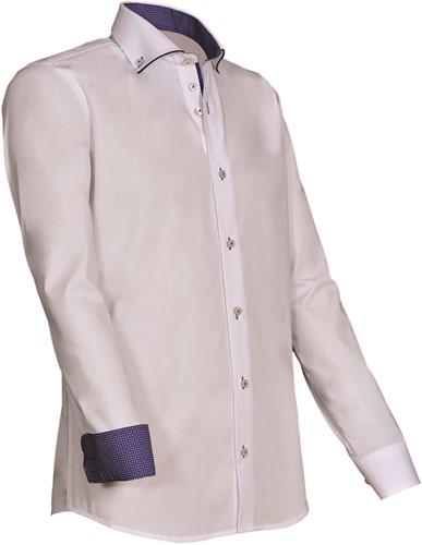 Giovanni Capraro 923-35 Heren Overhemd - Wit [Blauw accent]