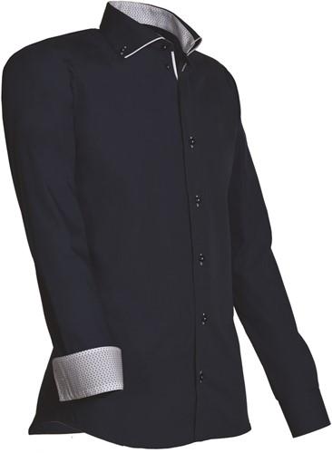 Giovanni Capraro 923-39 Heren Overhemd - Navy [Wit accent]