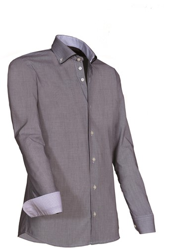 Giovanni Capraro 924-20 Heren Overhemd - Grijs [Zwart accent]