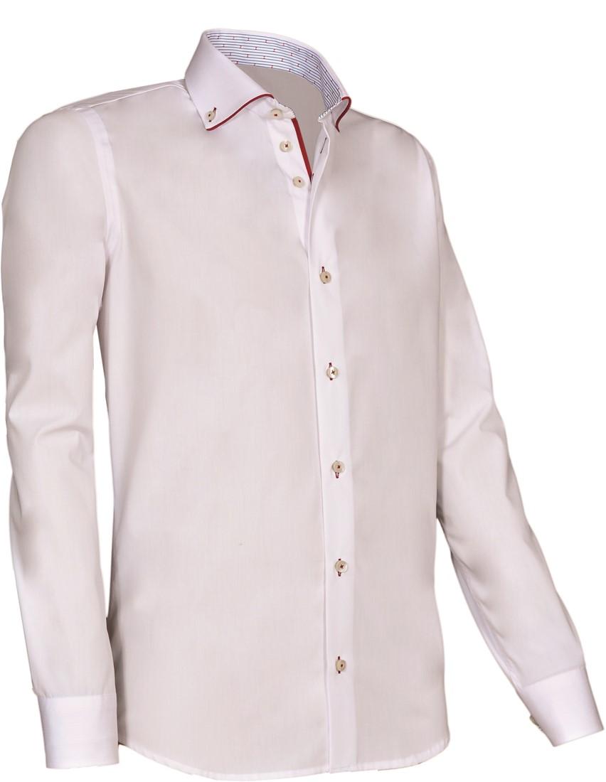Overhemd Wit.Giovanni Capraro 925 10 Overhemd Wit Rood Accent Giovanni Capraro