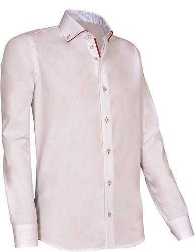 Giovanni Capraro 925-10 Heren Overhemd - Wit [Rood accent]