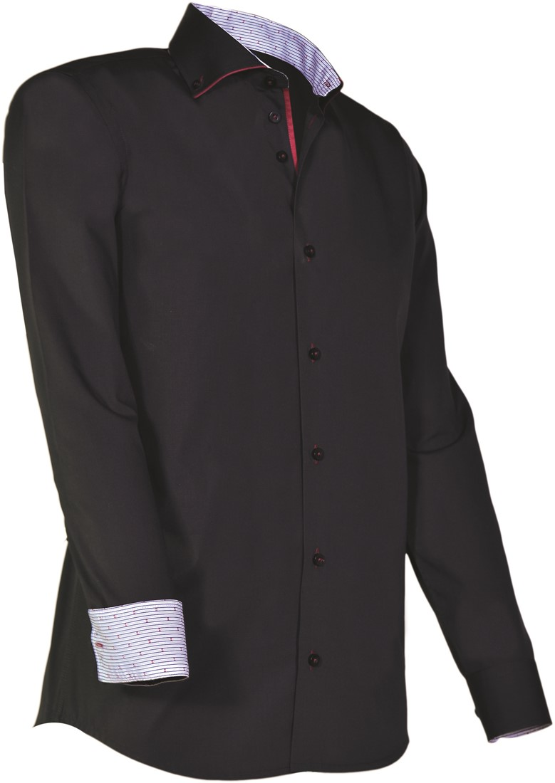 Overhemd Rood Zwart.Giovanni Capraro 925 20 Overhemd Zwart Rood Accent Giovanni Capraro