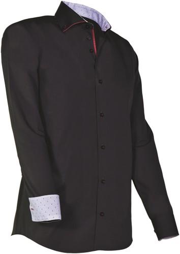 Giovanni Capraro 925-20 Heren Overhemd - Zwart [Rood accent]