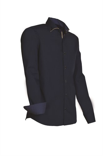 Giovanni Capraro 925-38 Heren Overhemd - Navy [Beige accent]
