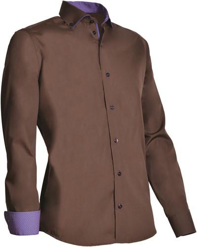 Giovanni Capraro 925-48 Heren Overhemd - Bruin [Navy accent]