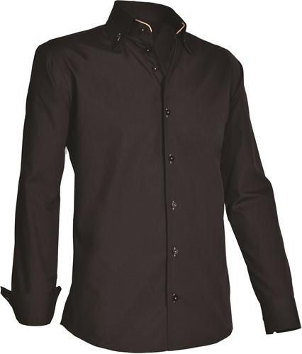 Giovanni Capraro 926-20 Heren Overhemd - Zwart [Beige accent]