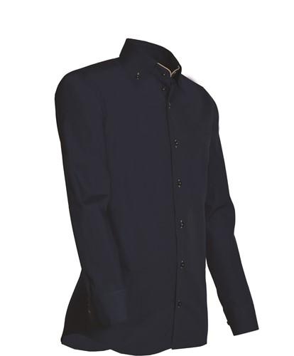 Giovanni Capraro 926-39 Heren Overhemd - Navy [Beige accent]