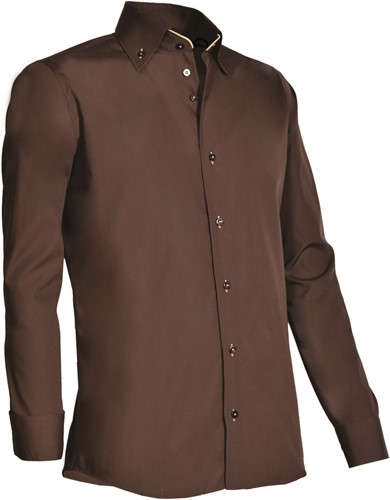 Giovanni Capraro 926-49 Heren Overhemd - Bruin [Beige accent]
