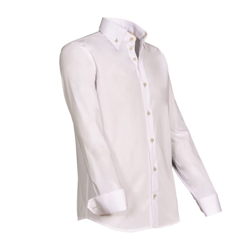 Giovanni Capraro 932-43 Heren Overhemd - Wit [Beige accent]