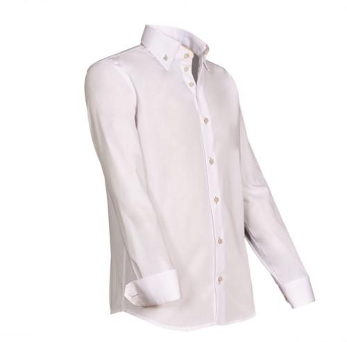 Giovanni Capraro 932-43 Overhemd - Wit [Beige accent]