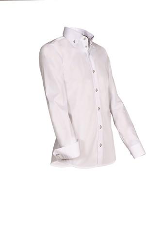 Giovanni Capraro 932-49 Heren Overhemd - Wit [Bruin accent]