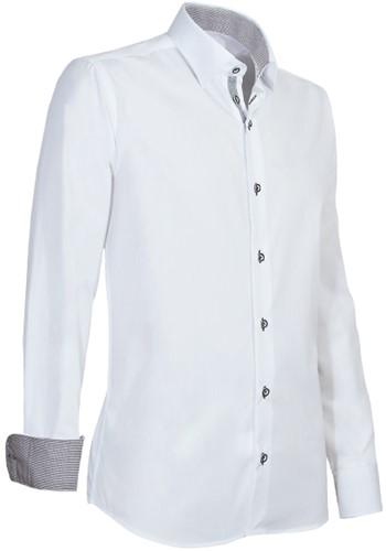 Giovanni Capraro 935-15 Heren Overhemd - Wit [Licht Grijs accent]