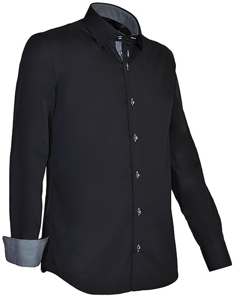 faff05e1812 Giovanni Capraro 935-20 Overhemd - Zwart [Licht Grijs accent ...