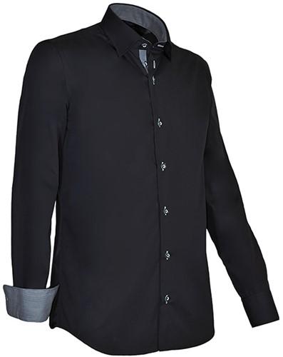 Giovanni Capraro 935-20 Heren Overhemd - Zwart [Licht Grijs accent]