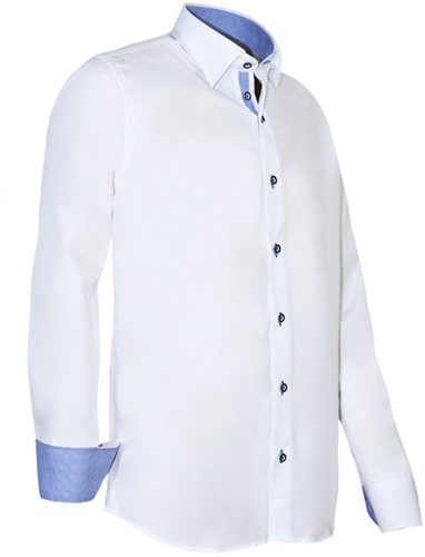 Giovanni Capraro 935-36 Heren Overhemd - Wit [Blauw accent]