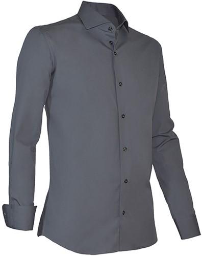 Giovanni Capraro 936-18 Heren Overhemd met stretch - Donker Grijs