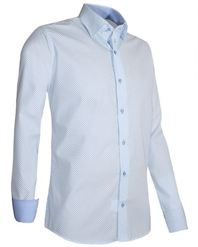 Giovanni Capraro 937-32 Heren Overhemd - Wit [Licht Blauw accent]