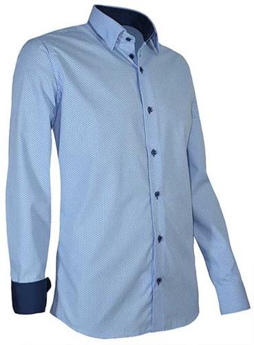 Giovanni Capraro 939-32 Heren Overhemd - Licht Blauw [Navy accent]