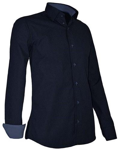 Giovanni Capraro 939-39 Heren Overhemd - Navy [Blauw accent]