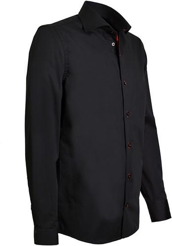 Giovanni Capraro 943-86 Heren Overhemd - Zwart - [Rood accent]