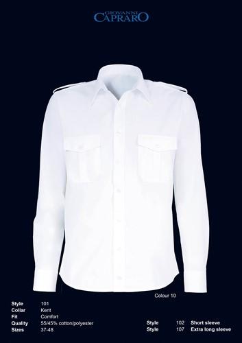 Giovanni Capraro 101-10 Heren Pilot Overhemd - Wit
