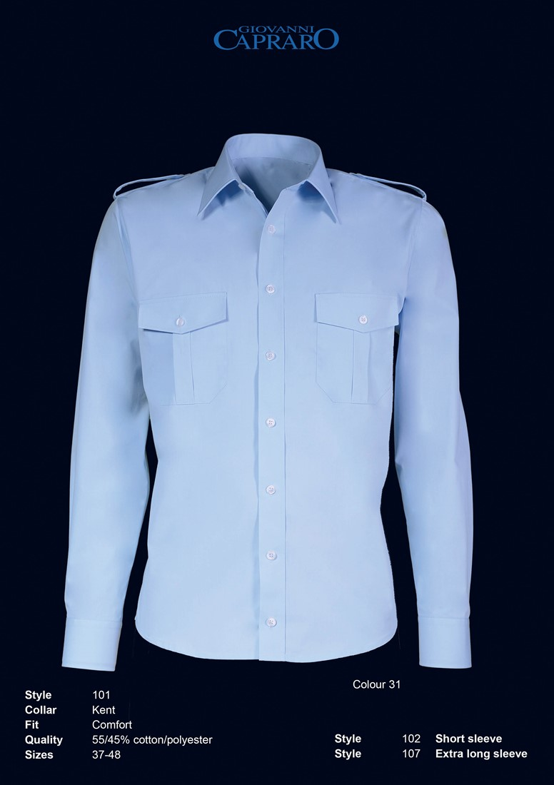Overhemd Blauw.Giovanni Capraro 101 31 Pilot Overhemd Blauw Giovanni Capraro