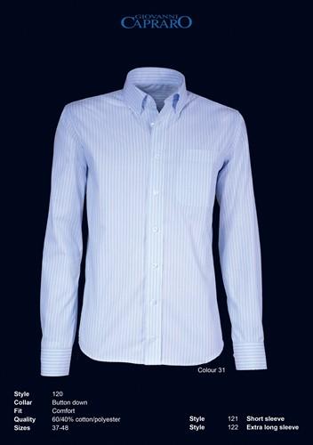 Giovanni Capraro 120-31 Heren Overhemd - Licht Blauw gestreept