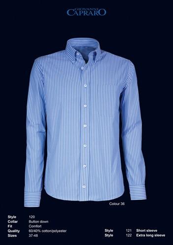 Giovanni Capraro 120-36 Heren Overhemd - Blauw gestreept