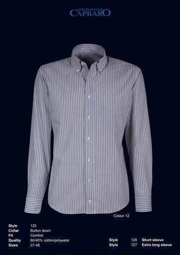 Giovanni Capraro 125-12 Heren Overhemd - Grijs gestreept