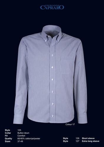 Giovanni Capraro 125-17 Heren Overhemd - Licht Grijs gestreept
