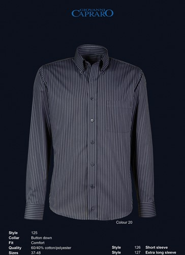 Giovanni Capraro 125-20 Heren Overhemd - Zwart gestreept