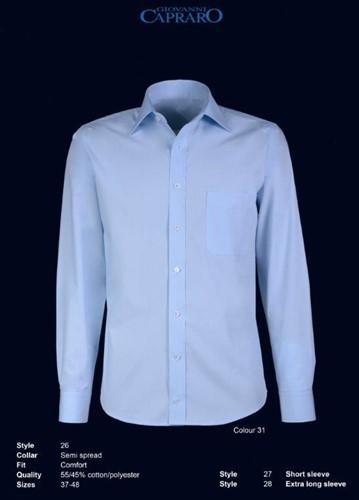 Giovanni Capraro 26-31 Heren Overhemd - Blauw